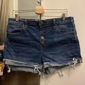 Gap high rise button up jean shorts